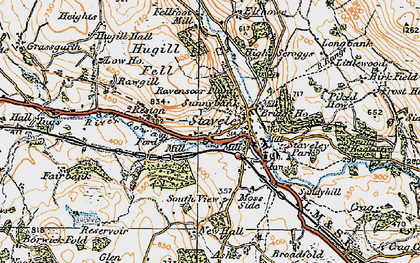 Old map of Staveley in 1925