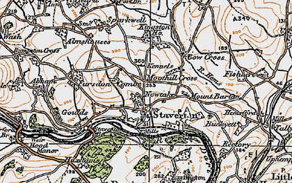 Old map of Staverton in 1919