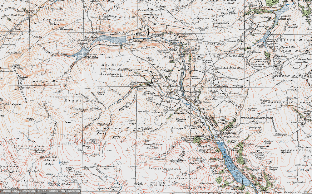 Old Map of Historic Map covering Backstean Gill in 1925