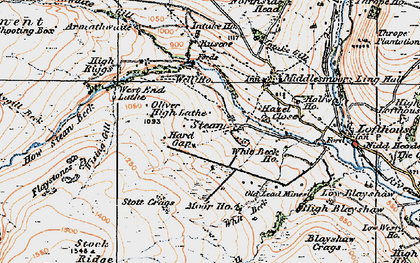 Old map of Backstean Gill in 1925