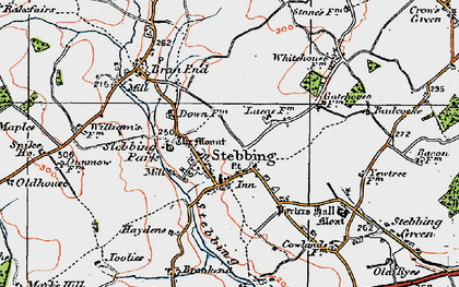 Old map of Stebbing in 1919
