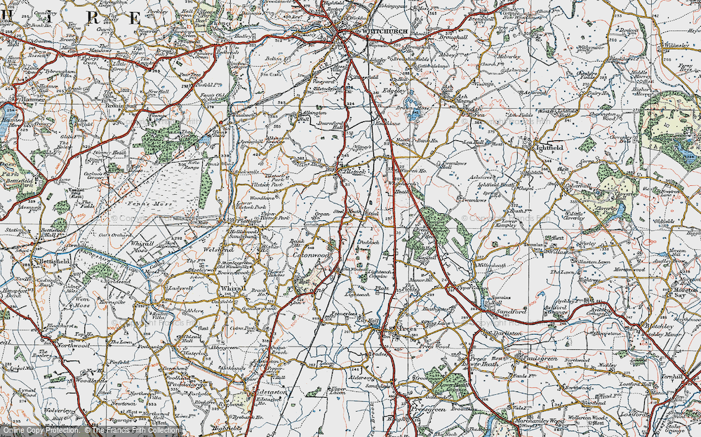 Old Map of Historic Map covering Lighteach Coppice in 1921