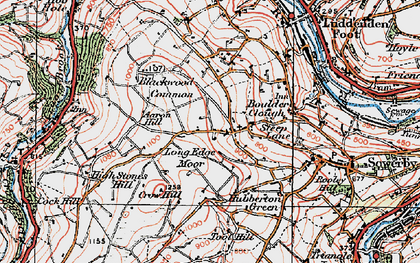 Old map of Aaron Hill in 1925