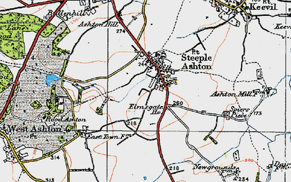 Old map of Steeple Ashton in 1919