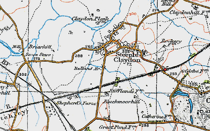 Old map of Steeple Claydon in 1919