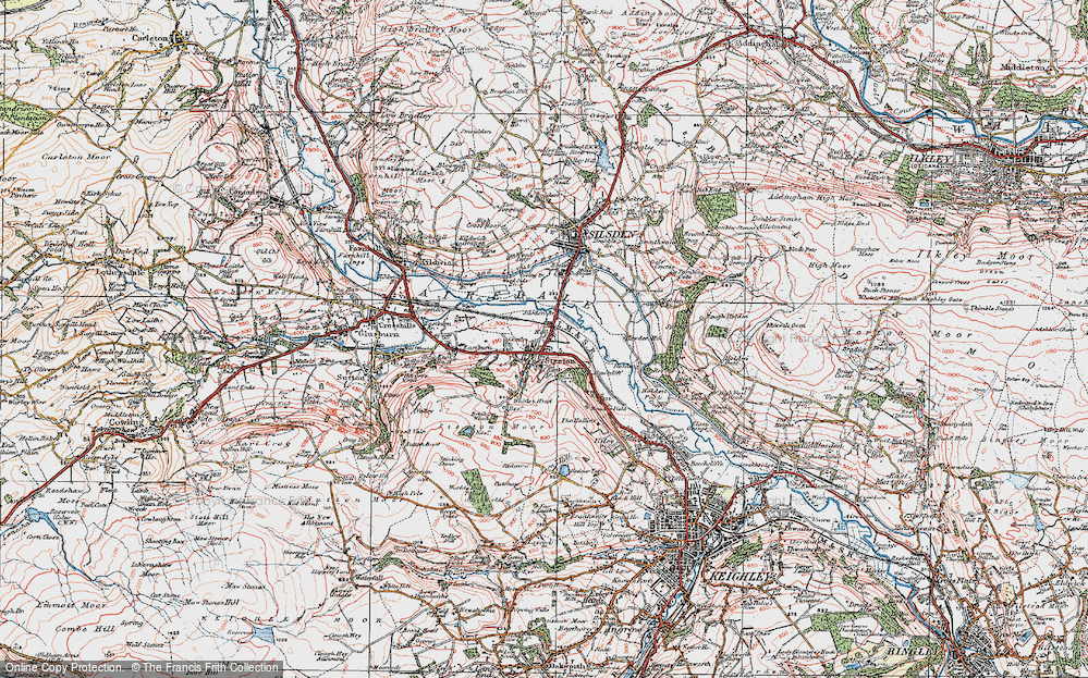 Old Map of Historic Map covering Airedale in 1925