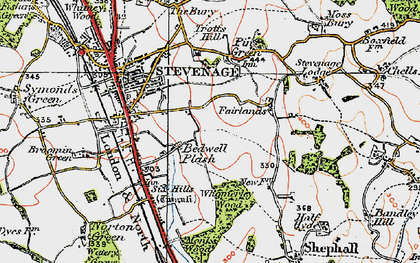Old map of Stevenage in 1920