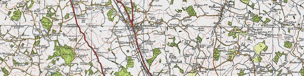 Old map of Stevenage in 1920