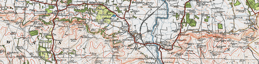 Old map of Wiston Barn in 1920