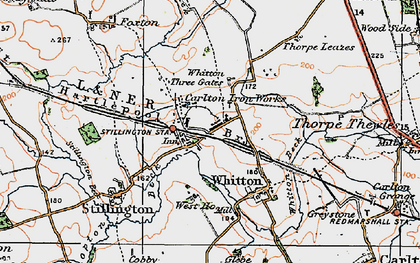 Old map of Whitton Three Gates in 1925
