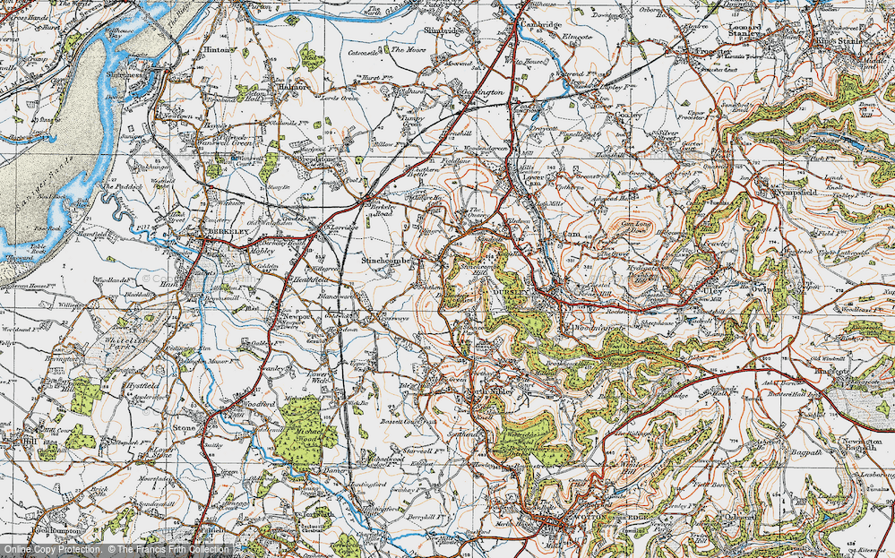 Old Map of Historic Map covering Yercombe Lodge in 1919