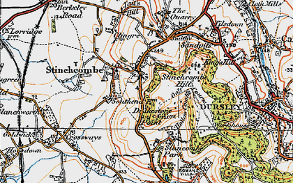 Old map of Stinchcombe in 1919