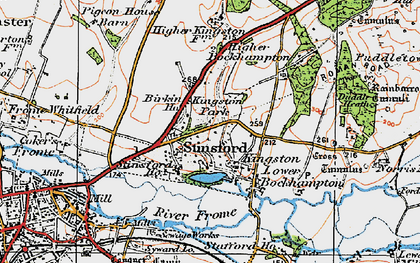 Old map of Stinsford in 1919