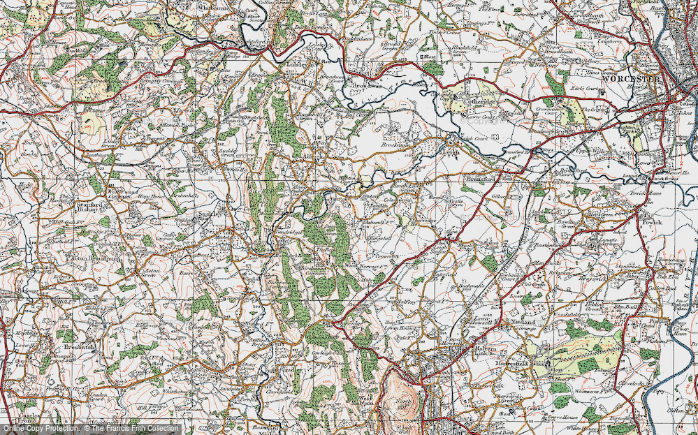 Old Map of Historic Map covering Ashcroft Ho in 1920