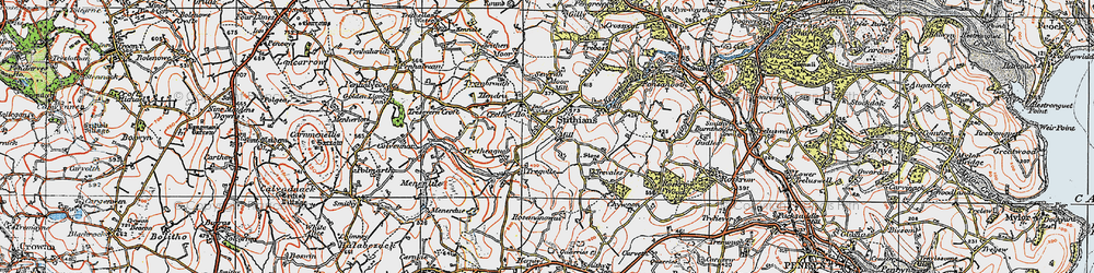 Old map of Stithians in 1919