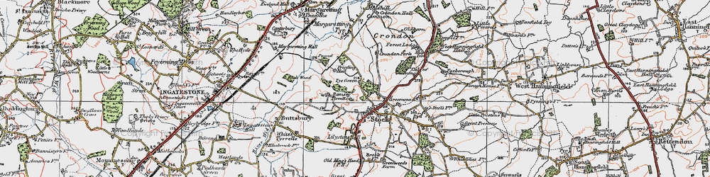 Old map of Stock in 1920