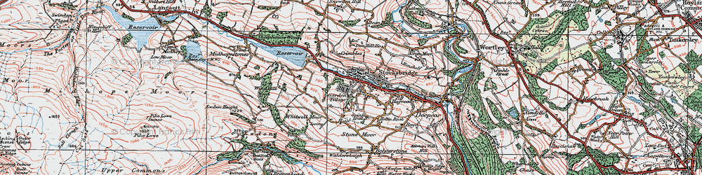 Old map of Whitwell Moor in 1924