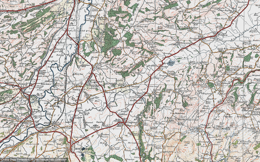 Old Map of Historic Map covering Aylesford Brook in 1921