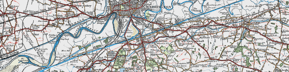 Old map of Stockton Heath in 1923