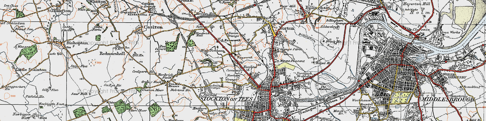 Old map of Stockton-on-Tees in 1925