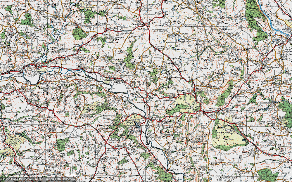 Old Map of Stockton on Teme, 1920 in 1920