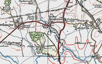 Old map of Stoke Bruerne in 1919