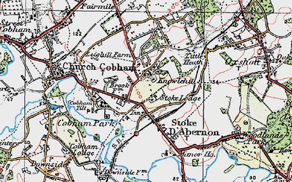 Old map of Stoke D' Abernon in 1920