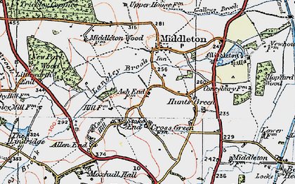 Old map of Langley Brook in 1921