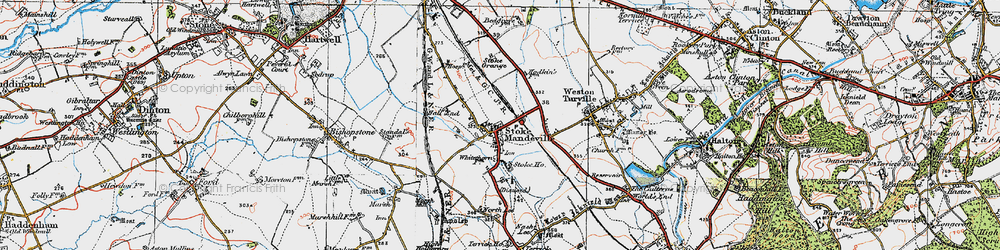 Old map of Stoke Mandeville in 1919