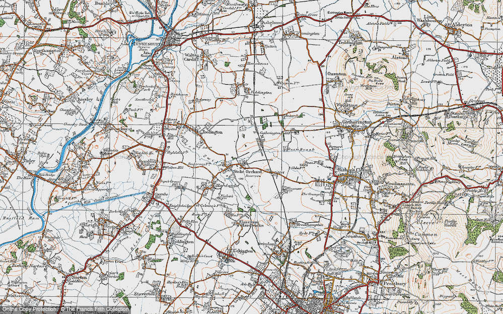 Old Map of Stoke Orchard, 1919 in 1919