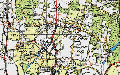 Old map of Stoke Poges in 1920