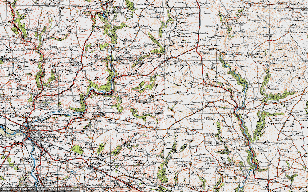 Old Map of Historic Map covering Yarde in 1919