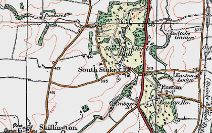 Old map of Stoke Rochford in 1922