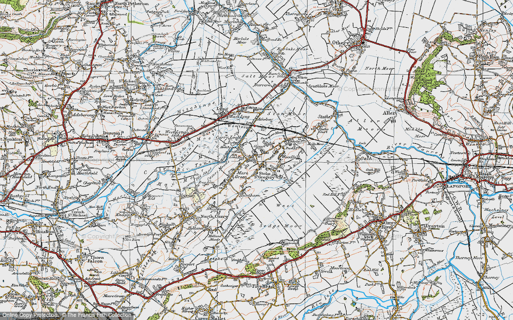 Old Map of Stoke St Gregory, 1919 in 1919