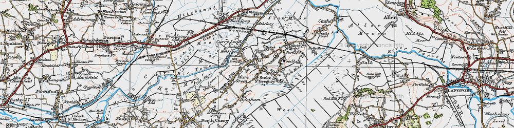 Old map of Stoke St Gregory in 1919