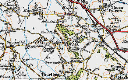 Old map of Stoke St Mary in 1919