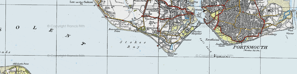 Old map of Stokes Bay in 1919