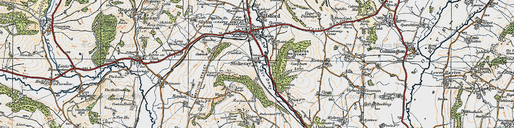 Old map of Stokesay in 1920