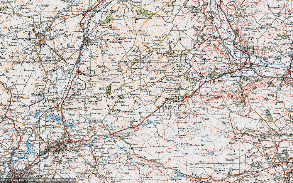 Old Map of Historic Map covering Laneshaw Resr in 1925
