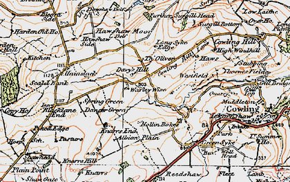 Old map of Laneshaw Resr in 1925
