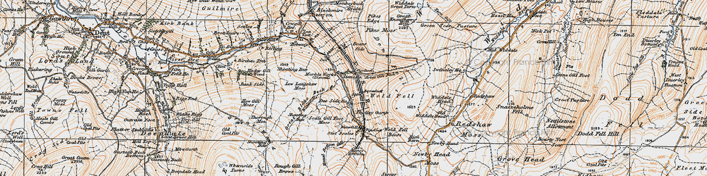 Old map of Widdale Great Tarn in 1925