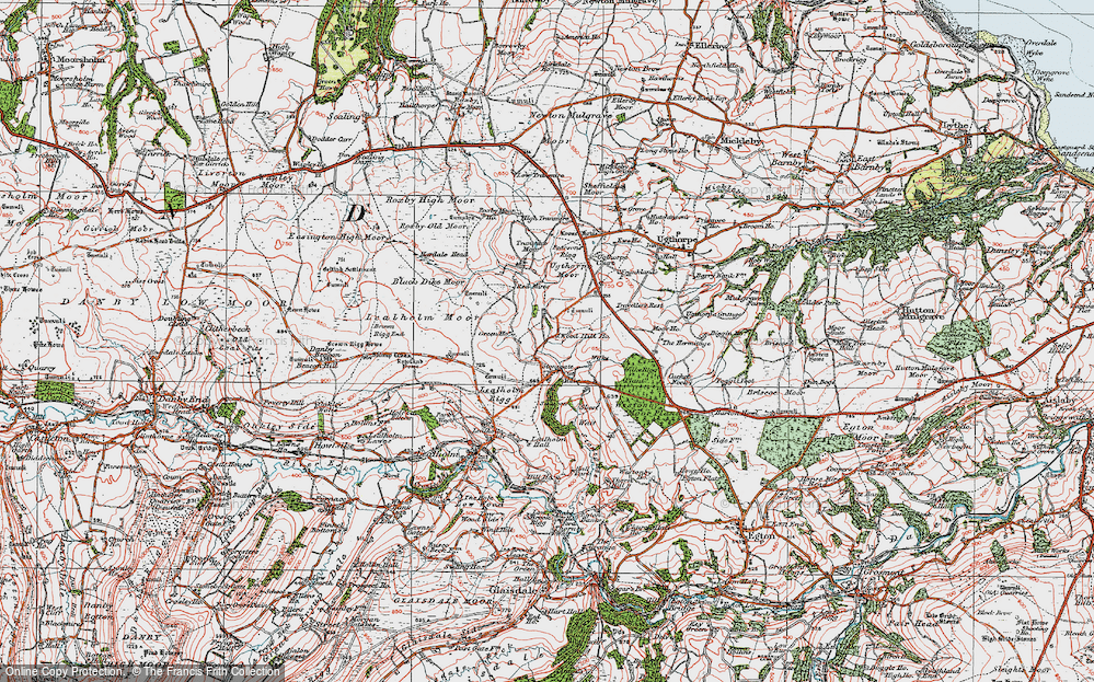 Old Map of Historic Map covering Westonby Plantn in 1925