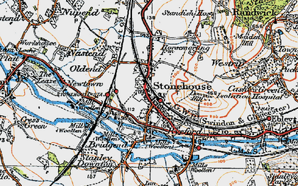 Old map of Stonehouse in 1919