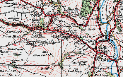 Old map of Stoney Middleton in 1923