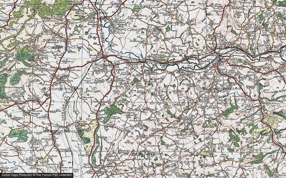 Old Map of Historic Map covering Wood Sutton in 1920