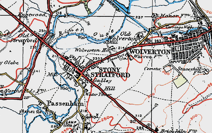 Old map of Stony Stratford in 1919