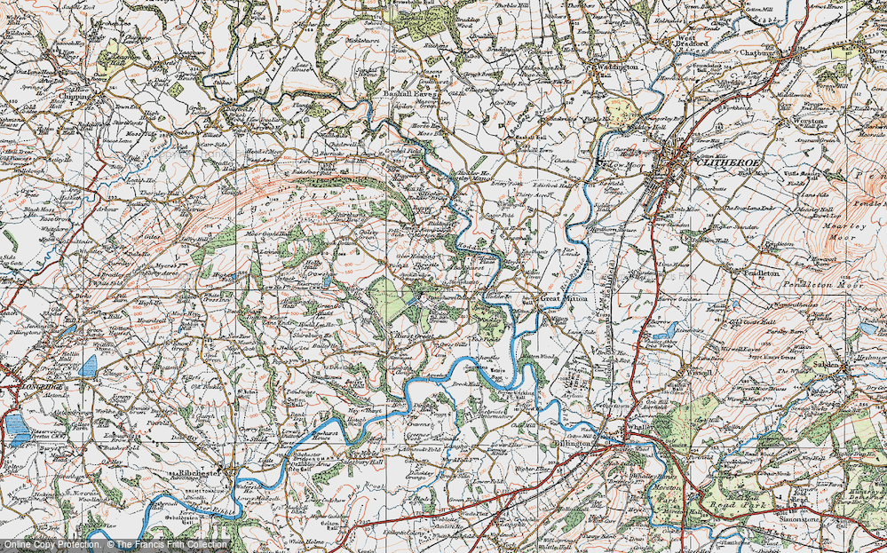 Old Map of Historic Map covering Woodfields in 1924