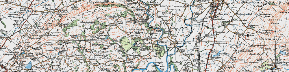 Old map of Woodfields in 1924