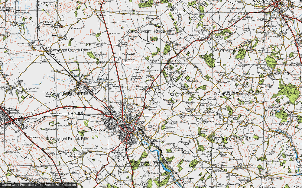 Old Map of Stopsley, 1920 in 1920