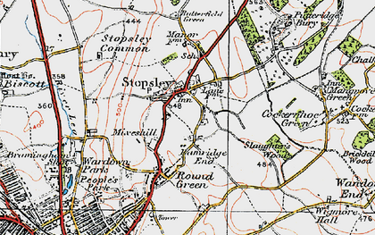 Old map of Stopsley in 1920